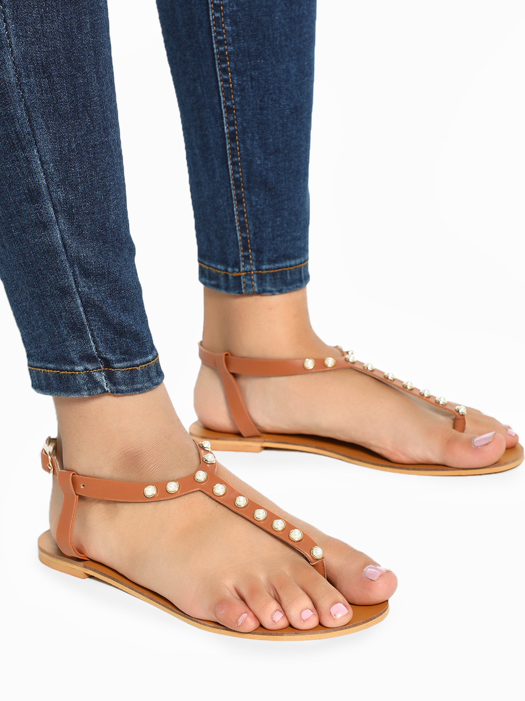 CAi Brown Pearl Embellished T-Strap Sandals 1