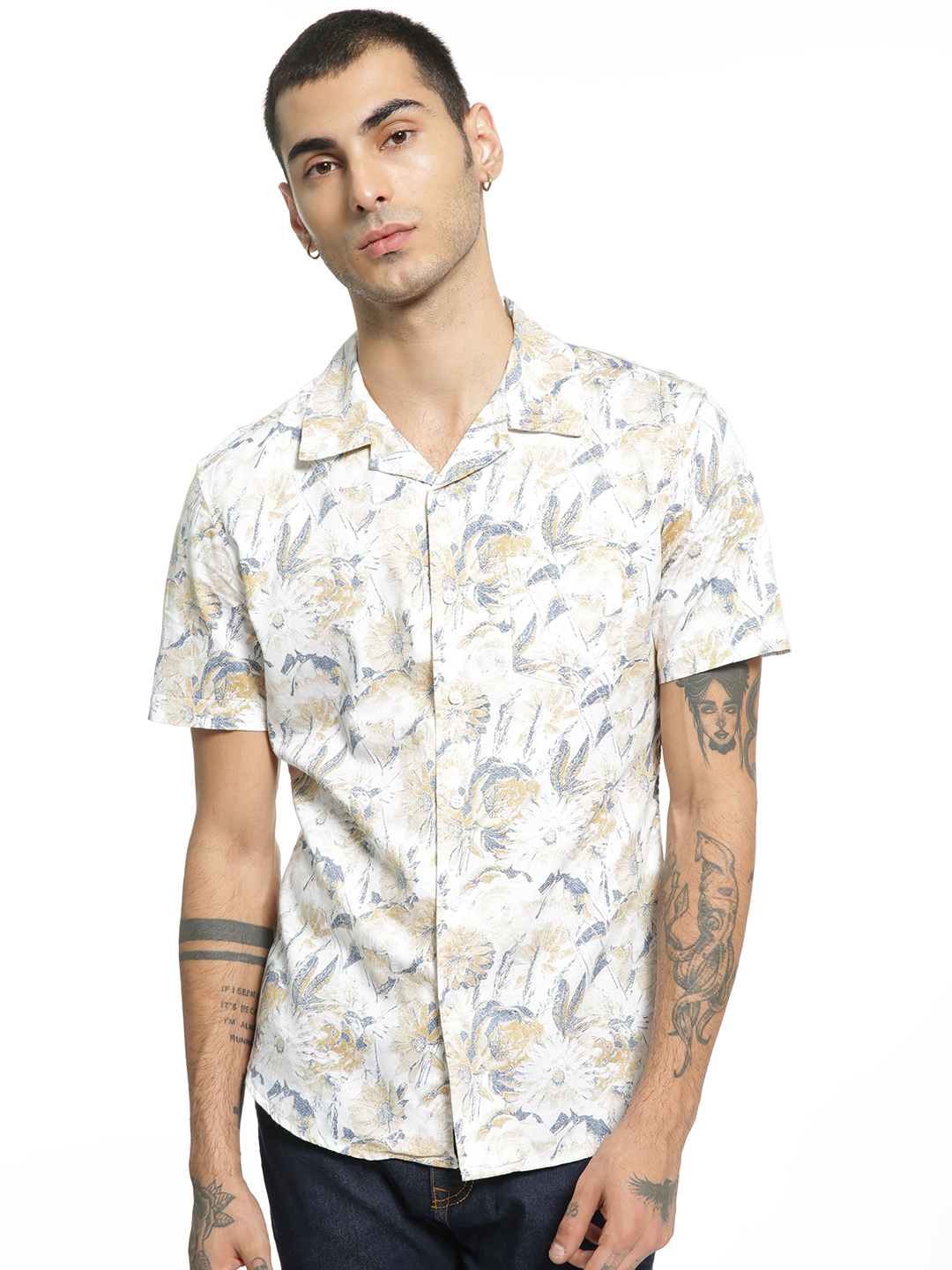 Spring Break Multi Tropical Floral Print Cuban Shirt 1