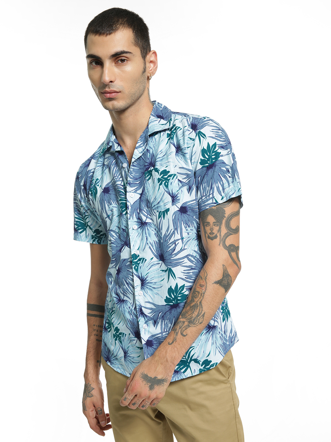 Spring Break Multi Tropical Palm Print Cuban Shirt 1