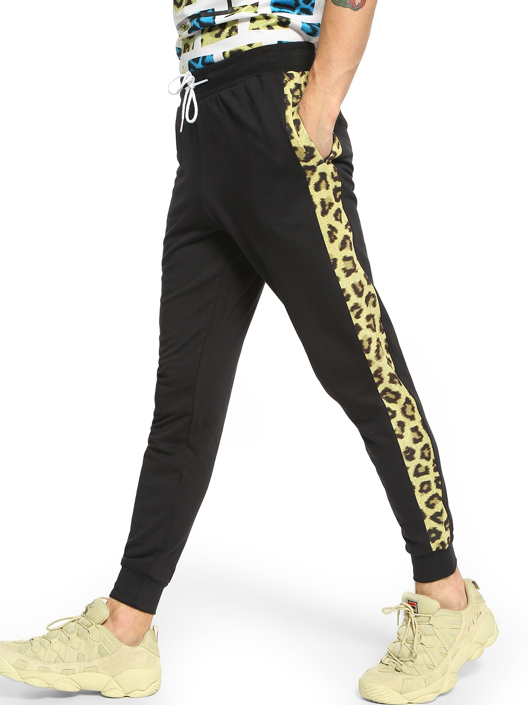 Fighting Fame Black Leopard Print Side Panel Joggers 1