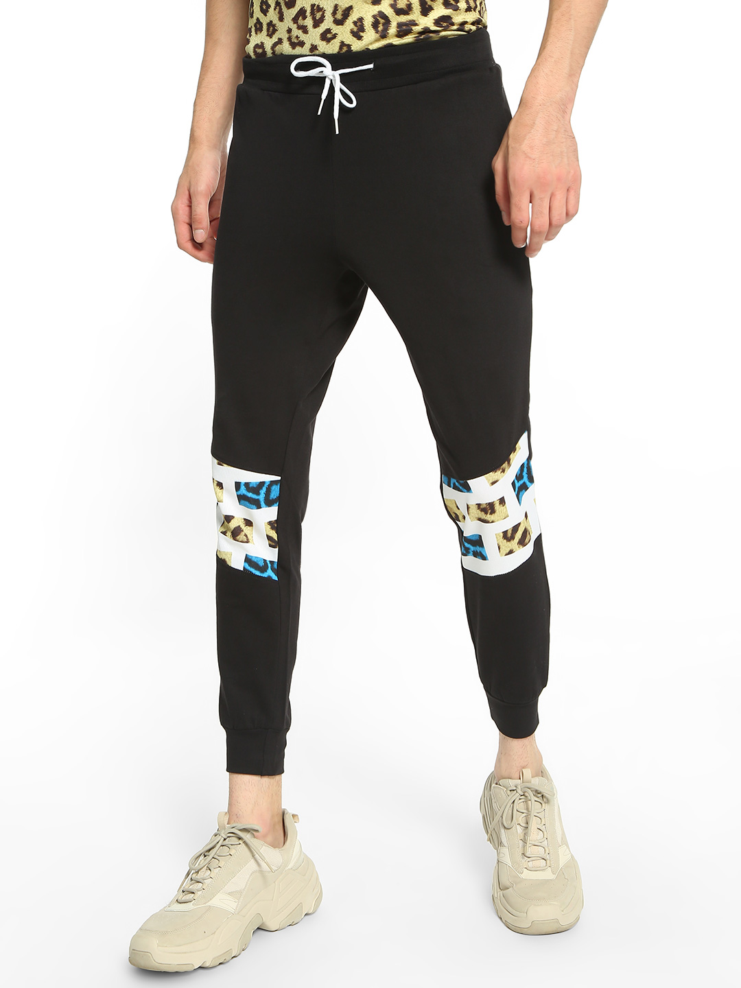 Fighting Fame Black Leopard Print Block Panelled Joggers 1