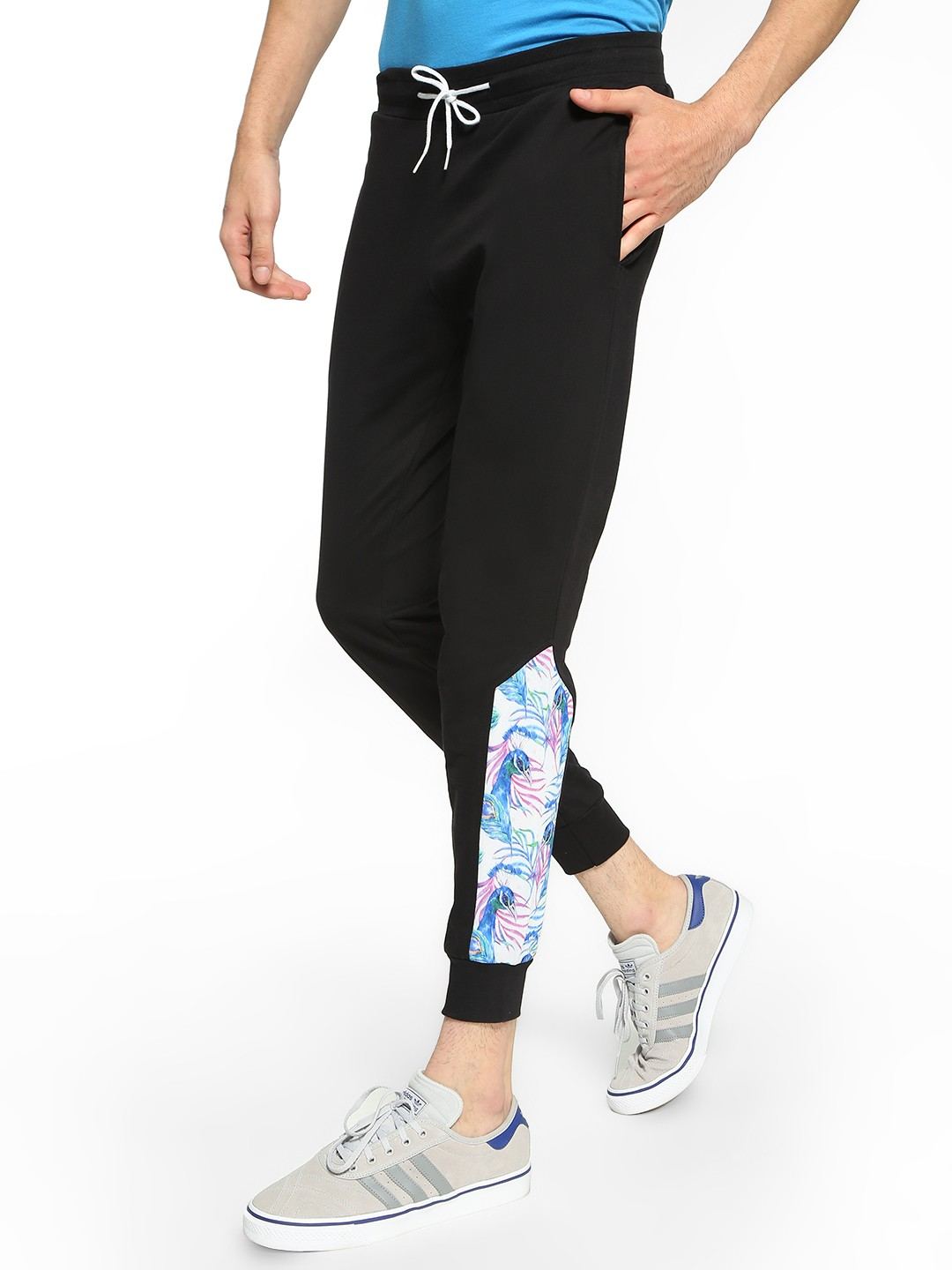 Fighting Fame Black Peacock Print Panelled Joggers 1
