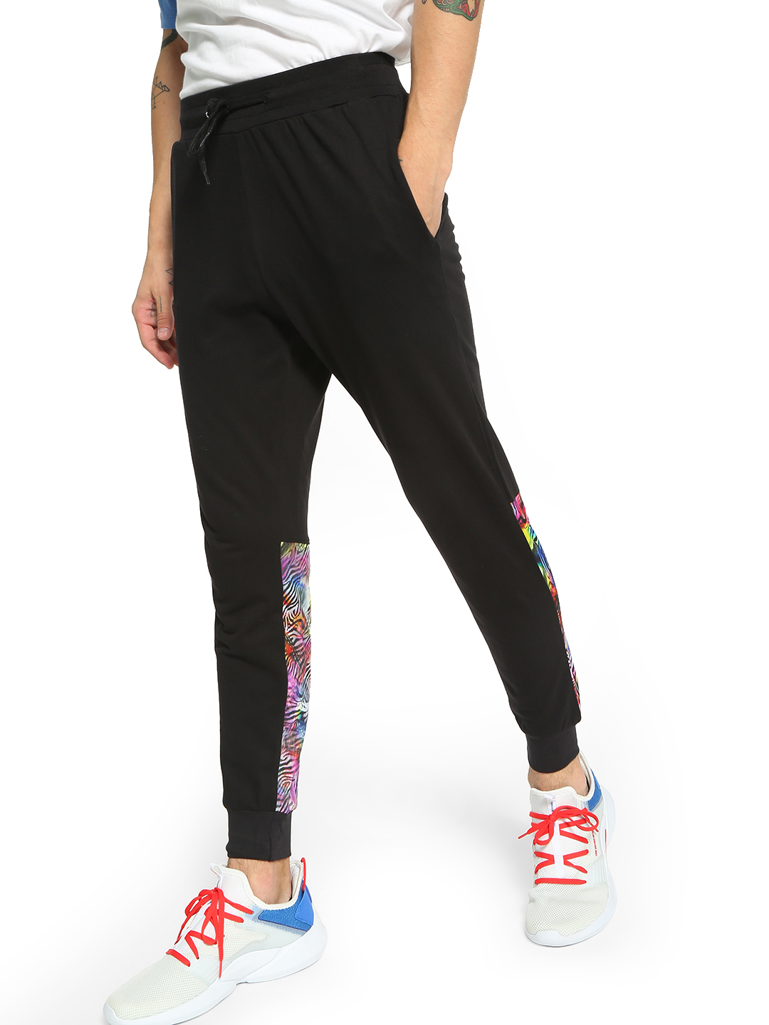 Fighting Fame Black 3D Zebra Print Panelled Joggers 1