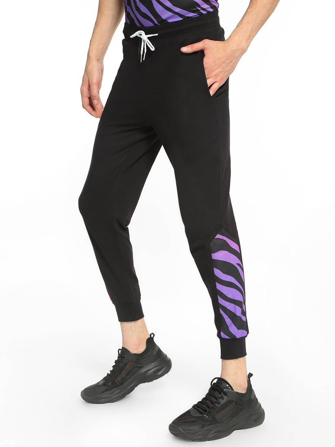 Fighting Fame Black Zebra Print Panelled Joggers 1