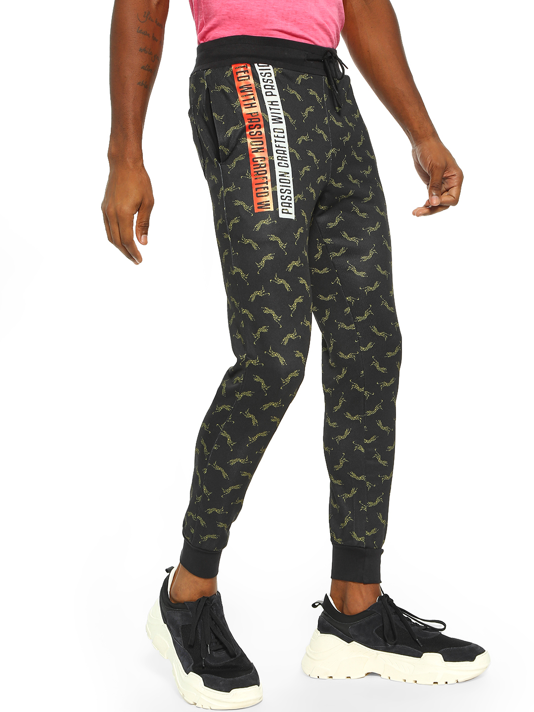 Fighting Fame Black Crafted With Passion Leopard Print Joggers 1