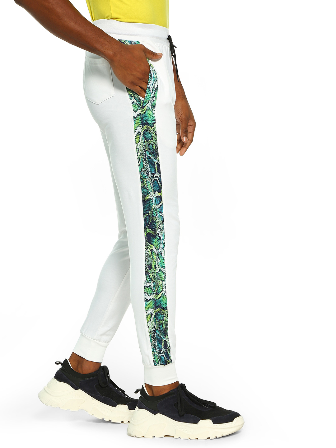 Fighting Fame White Snakeskin Side Tape Joggers 1