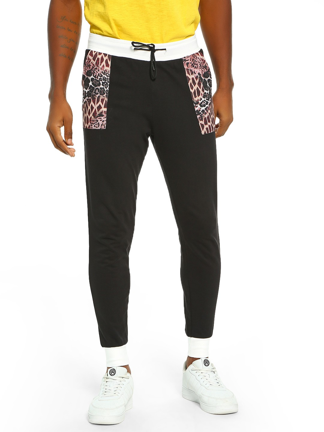 Fighting Fame Black Leopard Print Panelled Joggers 1