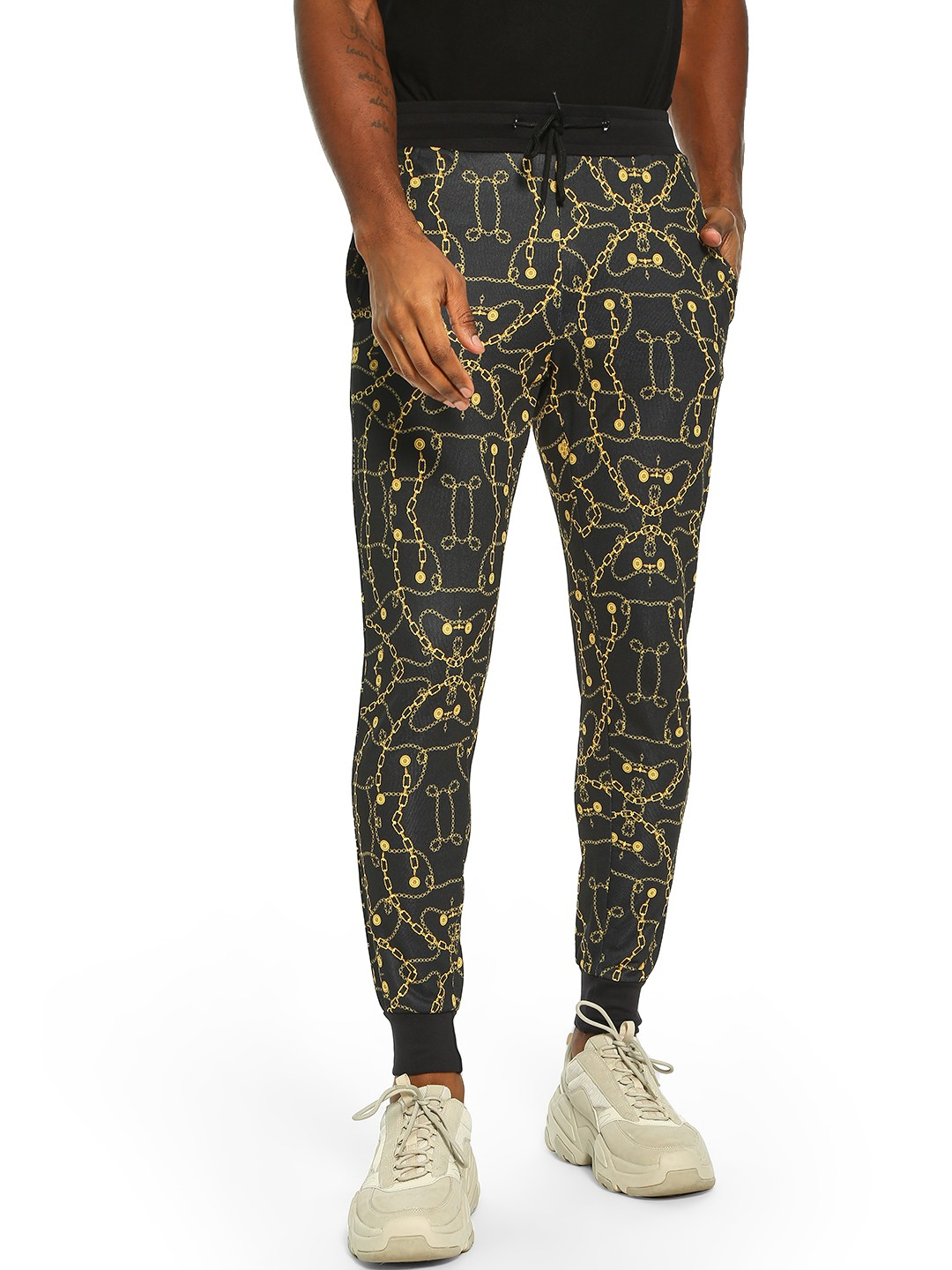 Fighting Fame Black Baroque Chain Print Joggers 1