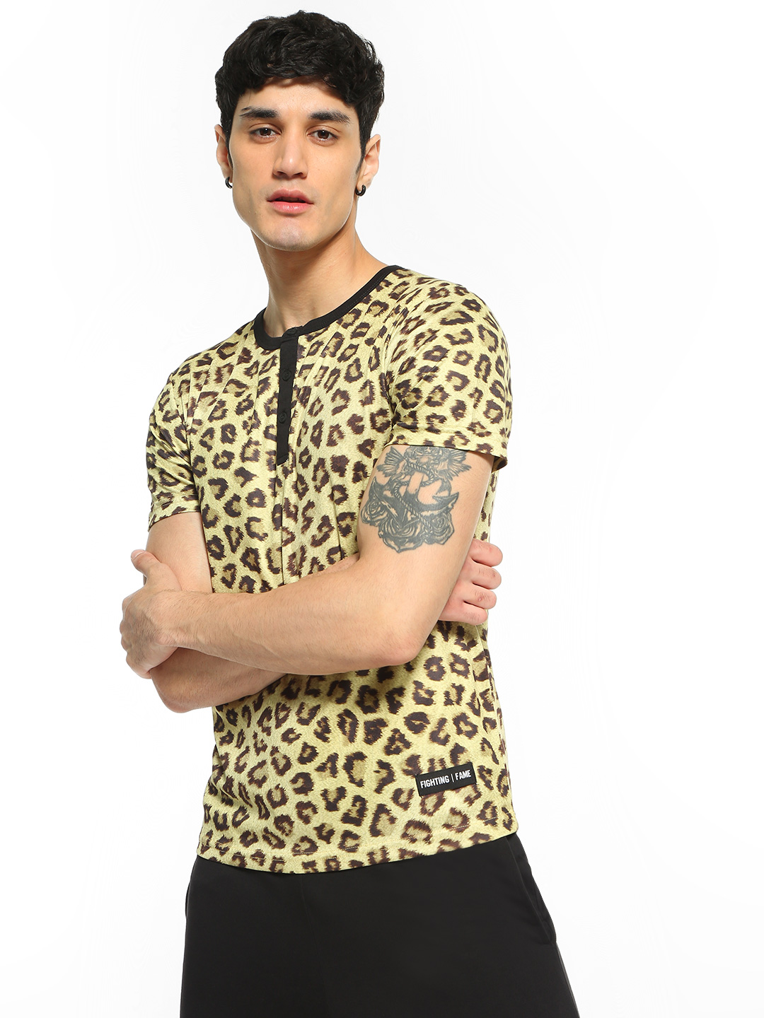 Fighting Fame Yellow Leopard Print Henley Neck T-Shirt 1