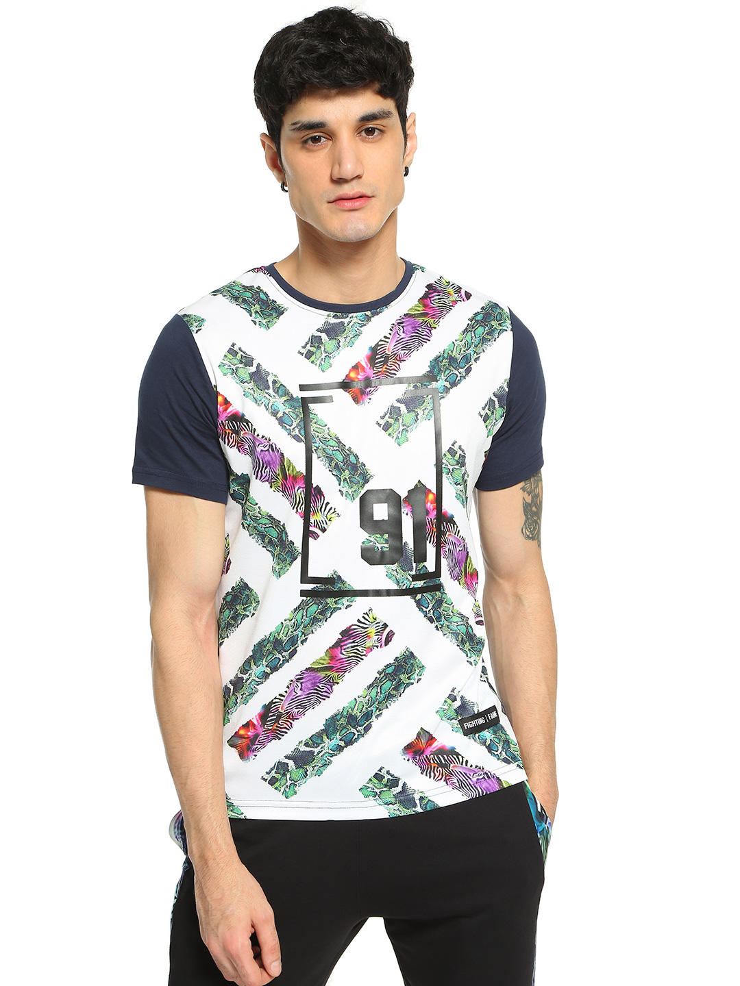 Fighting Fame Multi Snake & Zebra Cross Print T-Shirt 1