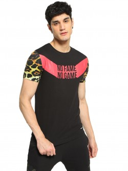 Fighting Fame Leopard Print Sleeve Slogan T-Shirt