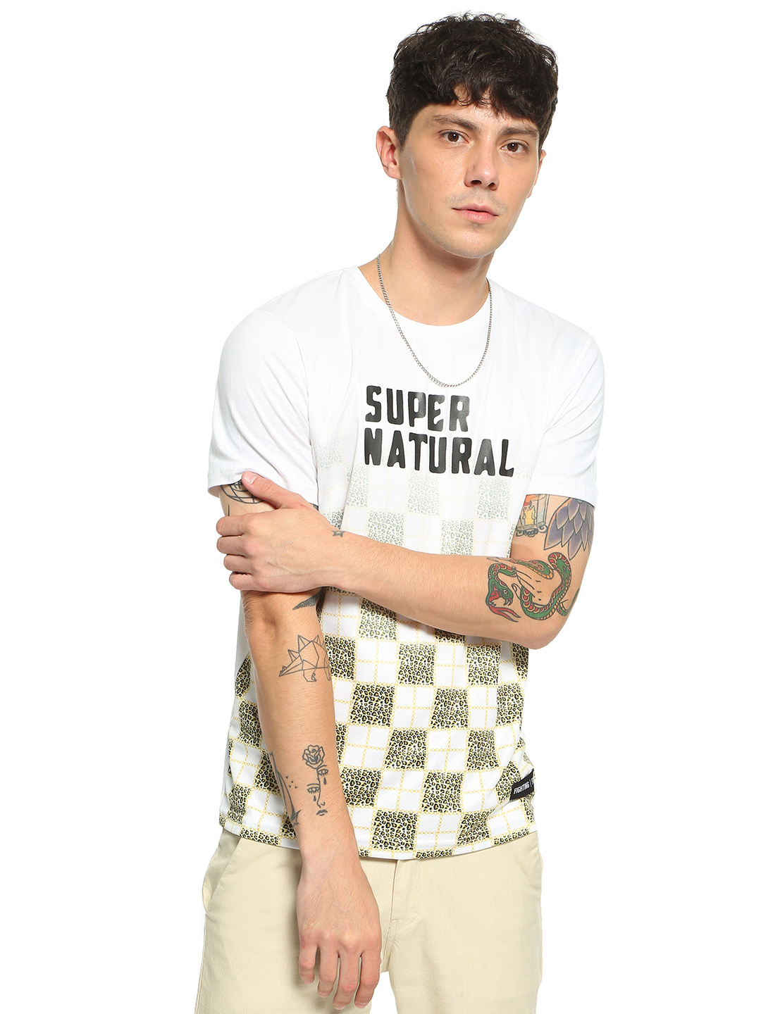 Fighting Fame White Leopard Check Text Print T-Shirt 1