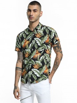 TRUE RUG Tropical Print Short Sleeve Shirt