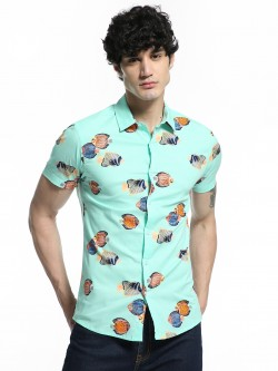 TRUE RUG Fish Print Short Sleeve Shirt