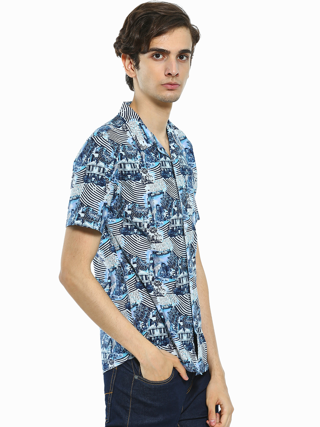Spring Break Multi Street Sticker Print Cuban Collar Shirt 1
