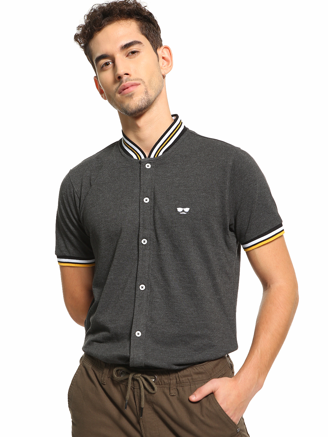 Garcon Grey Baseball Collar Pique Shirt 1