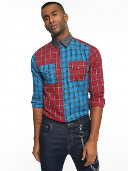 KOOVS Half And Half Check Shirt