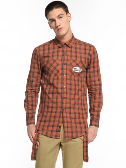 KOOVS Multi-Check Strap Detail Longline Shirt