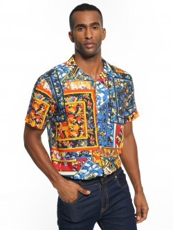 KOOVS Floral Patchwork Cuban Collar Shirt