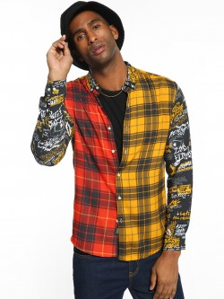 KOOVS Half And Half Checkered Shirt