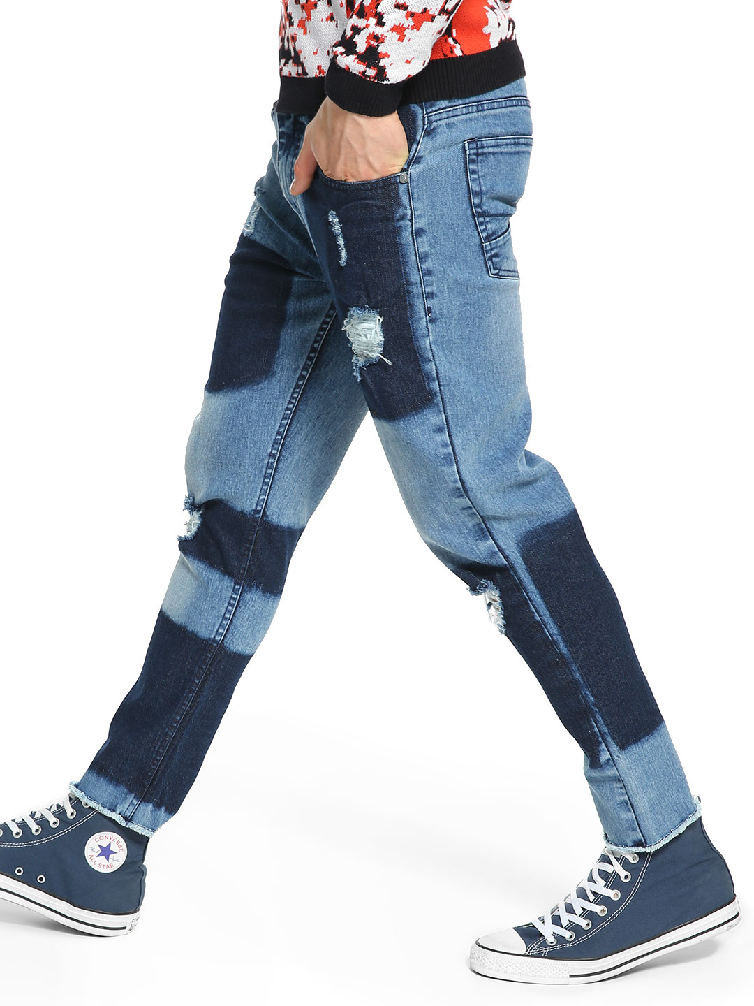 K Denim Blue KOOVS Two Tone Patch Slim Jeans 1