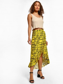 KOOVS Tiger Print High Waist Skirt