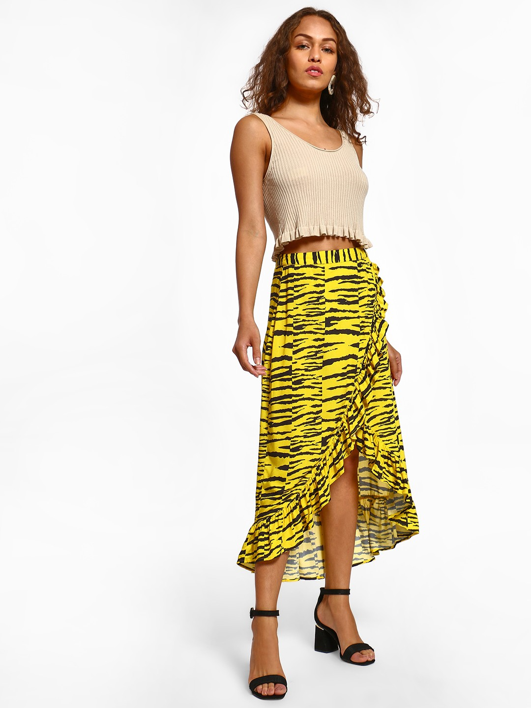 KOOVS Multi Tiger Print High Waist Skirt 1