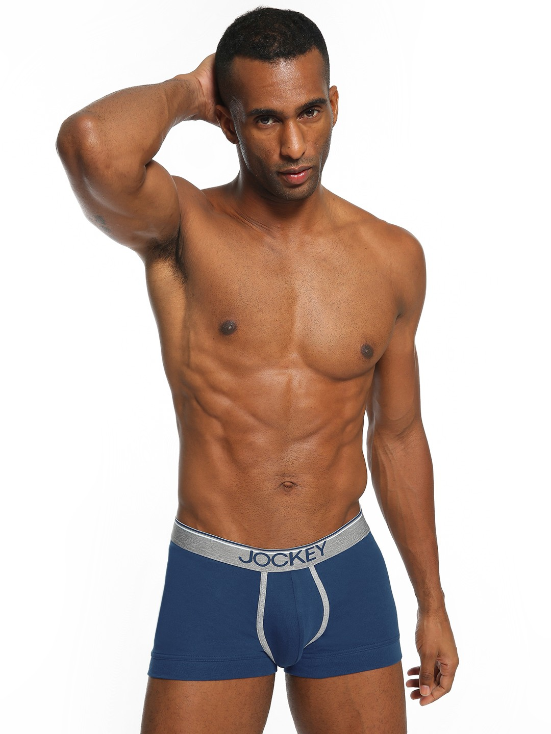 Jockey Blue Contrast Logo Waistband Trunks 1