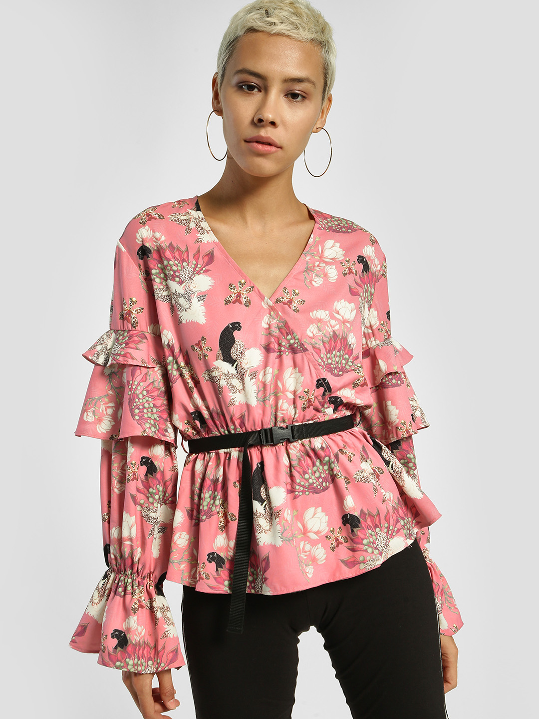 Shivan & Narresh X KOOVS Pink Magnolia Flower Print Layered Sleeve Blouse 1