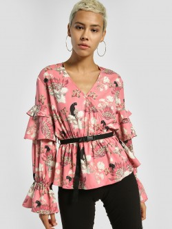 Shivan & Narresh X KOOVS Magnolia Flower Print Layered Sleeve Blouse