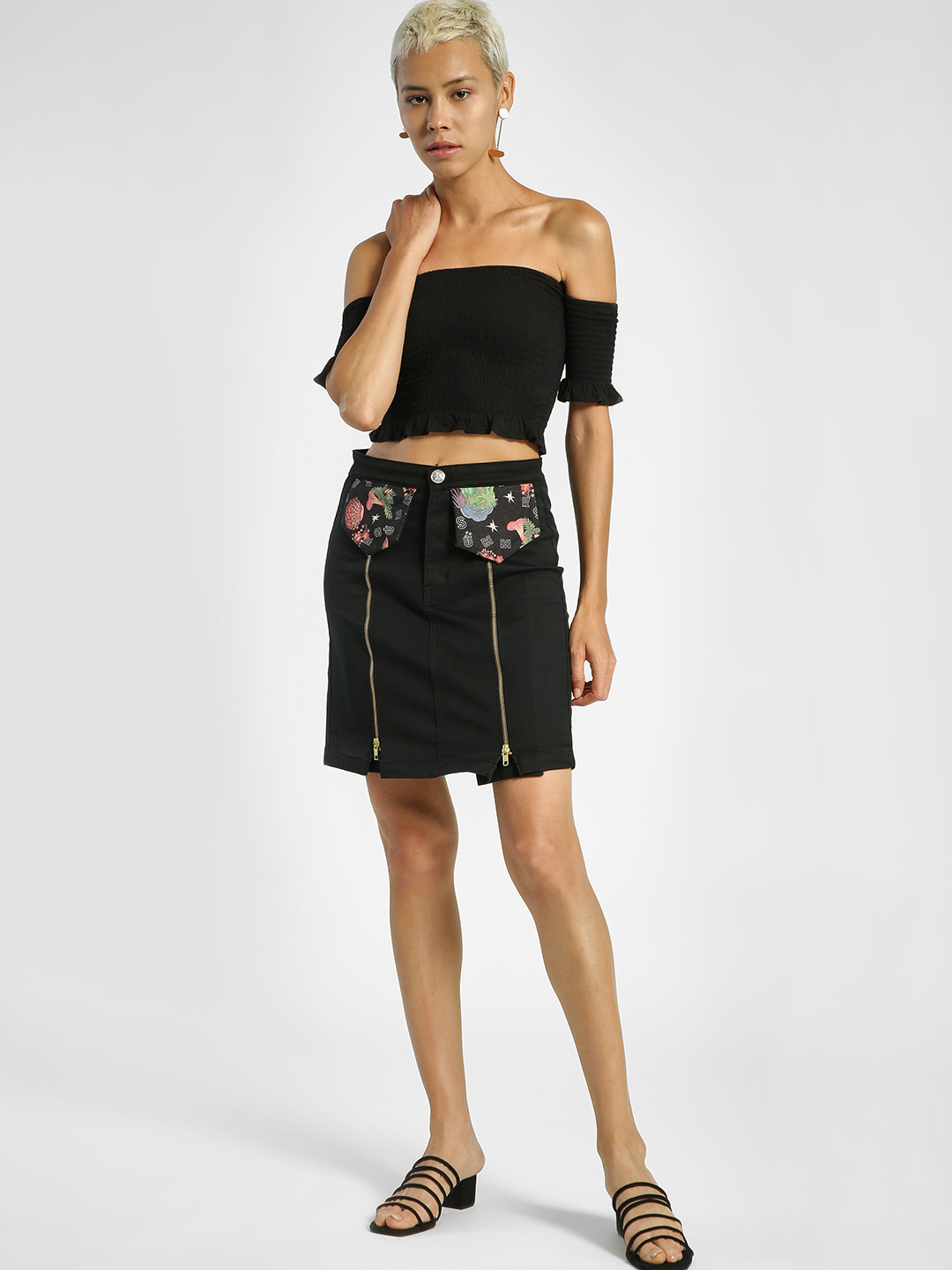 Shivan & Narresh X KOOVS Black Oriental Floral Print Mini Skirt 1