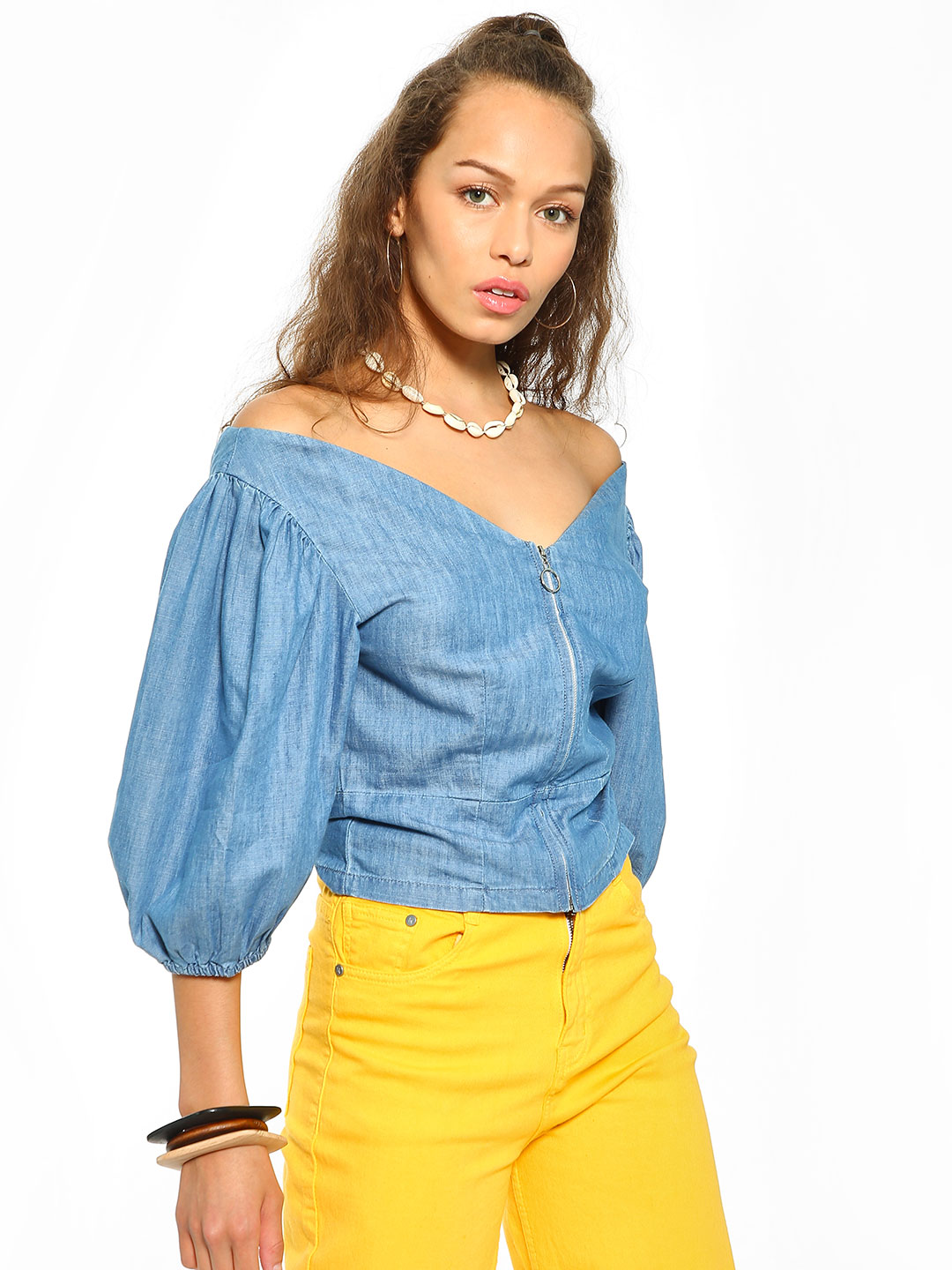 Sbuys Blue Off-Shoulder Zip-Up Denim Blouse 1