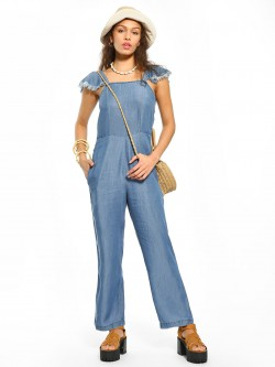 Sbuys Frayed Sleeve Chambray Jumpsuit