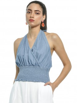 Sbuys Halter Neck Smocked Denim Crop Top