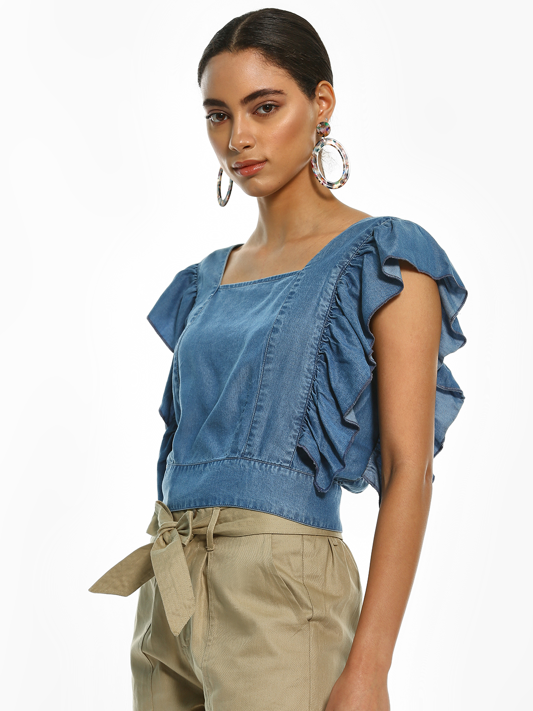 Sbuys Blue Back Cut-Out Denim Crop Top 1