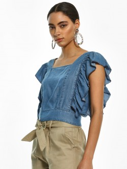 Sbuys Back Cut-Out Denim Crop Top