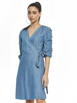 Sbuys Side Wrap Denim Dress