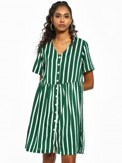 Sbuys Vertical Stripe Shift Dress