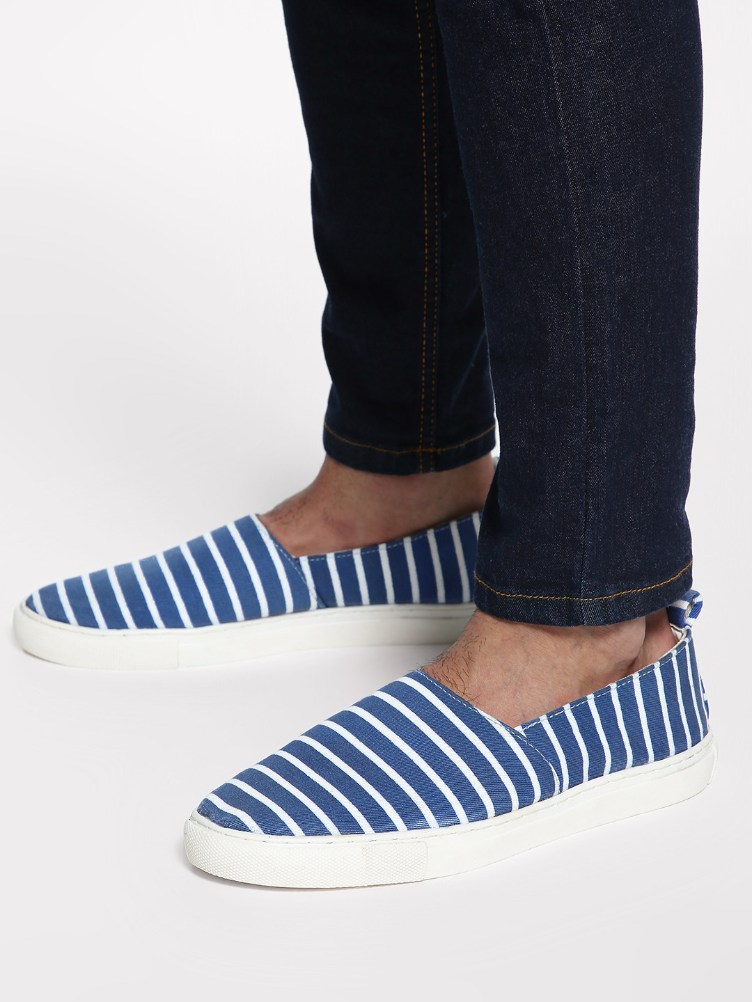 Bolt Of The Good Stuff Blue Stripe Print Espadrilles 1