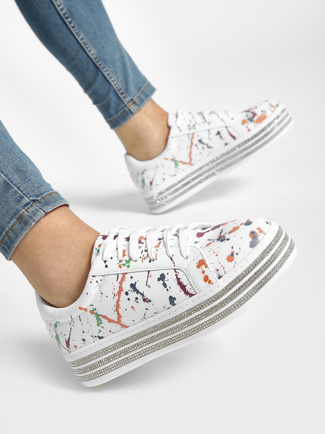 My Foot Couture White Paint Splatter Diamante Embellished Sneakers 1