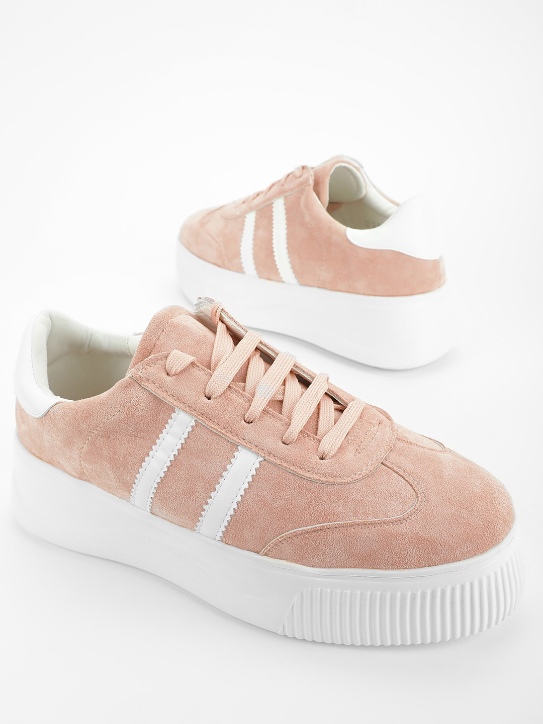 My Foot Couture Pink Suede Lace-Up Sneakers 1