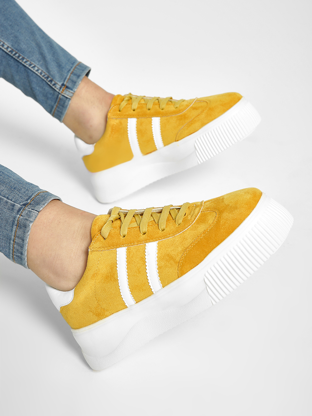 My Foot Couture Yellow Suede Lace-Up Sneakers 1
