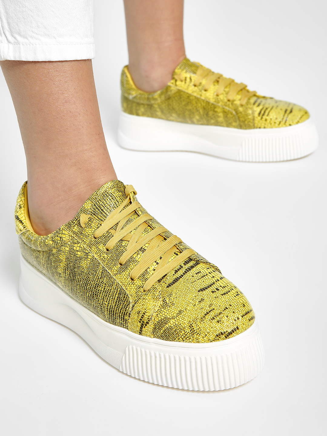 Sole Story Yellow All Over Print Flatform Shoes 1