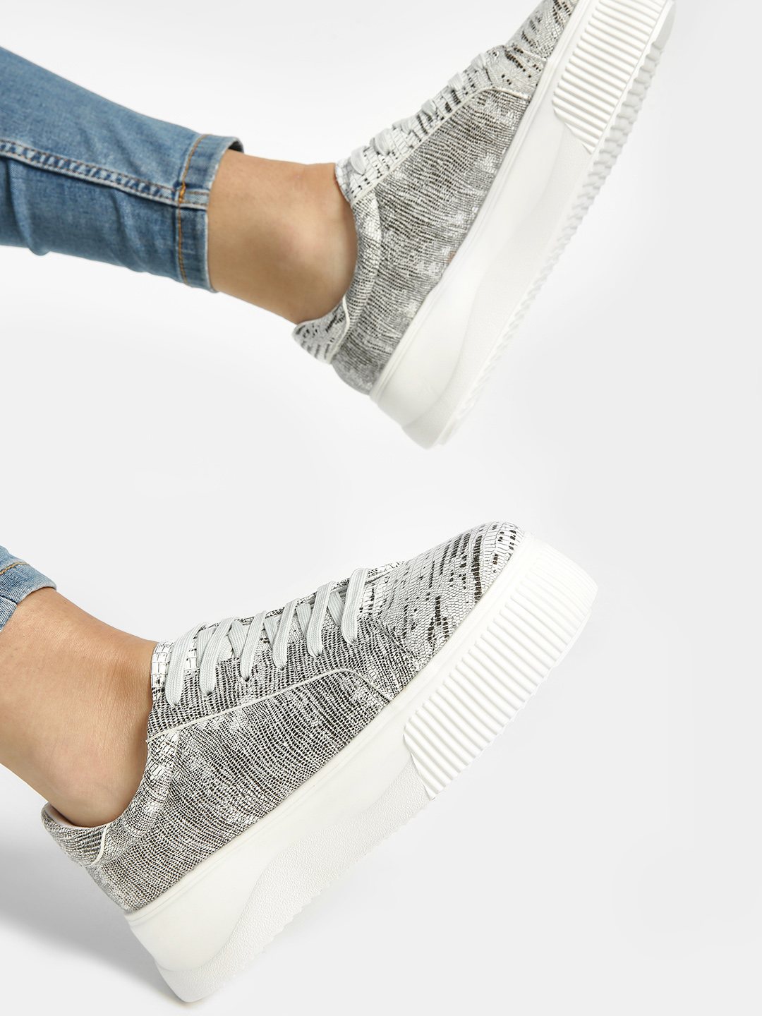 Sole Story Grey All Over Print Flatform Shoes 1