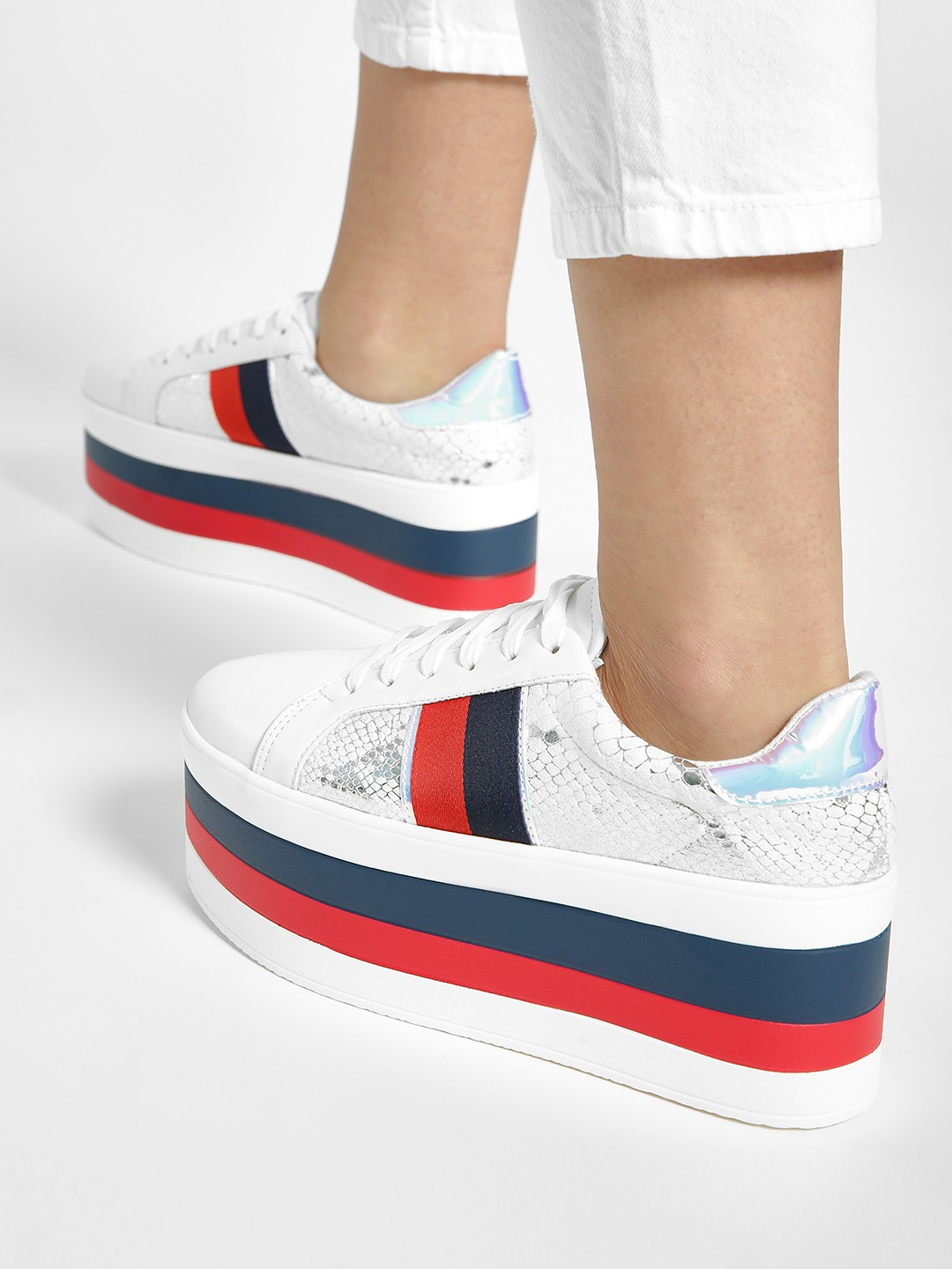 My Foot Couture Multi Snake Print Holographic Panel Flatform Sneakers 1