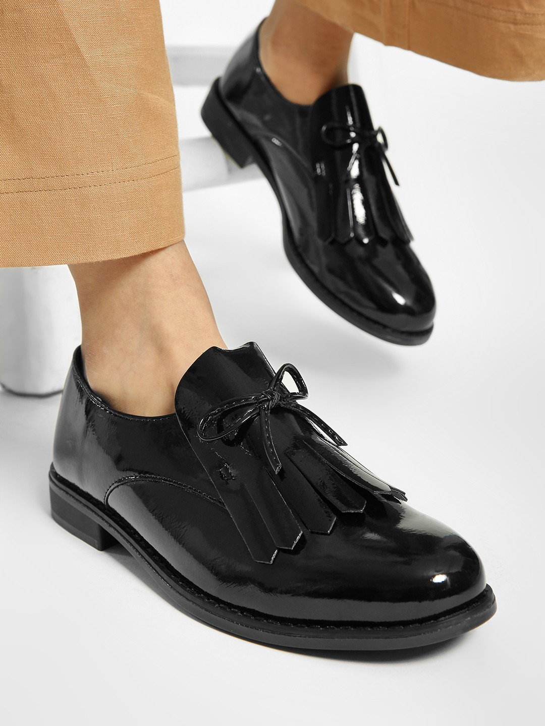 Sole Story Black Patent Fringe Bow Loafers 1