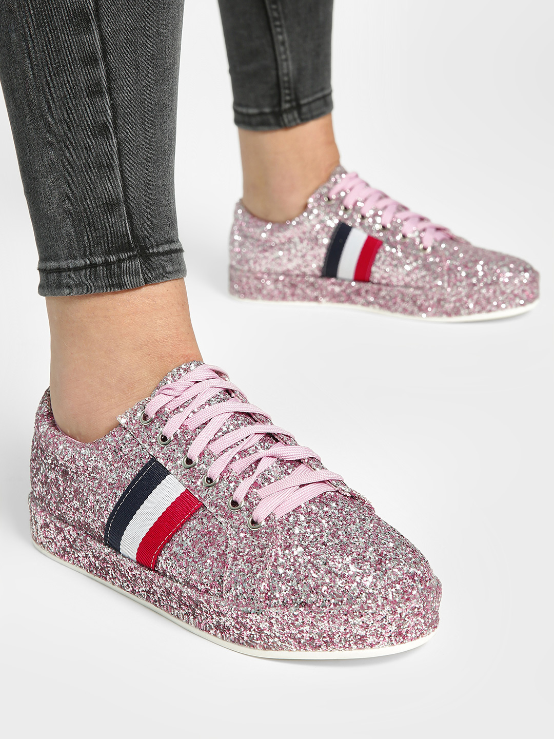 My Foot Couture Pink Contrast Panel Glitter Sneakers 1