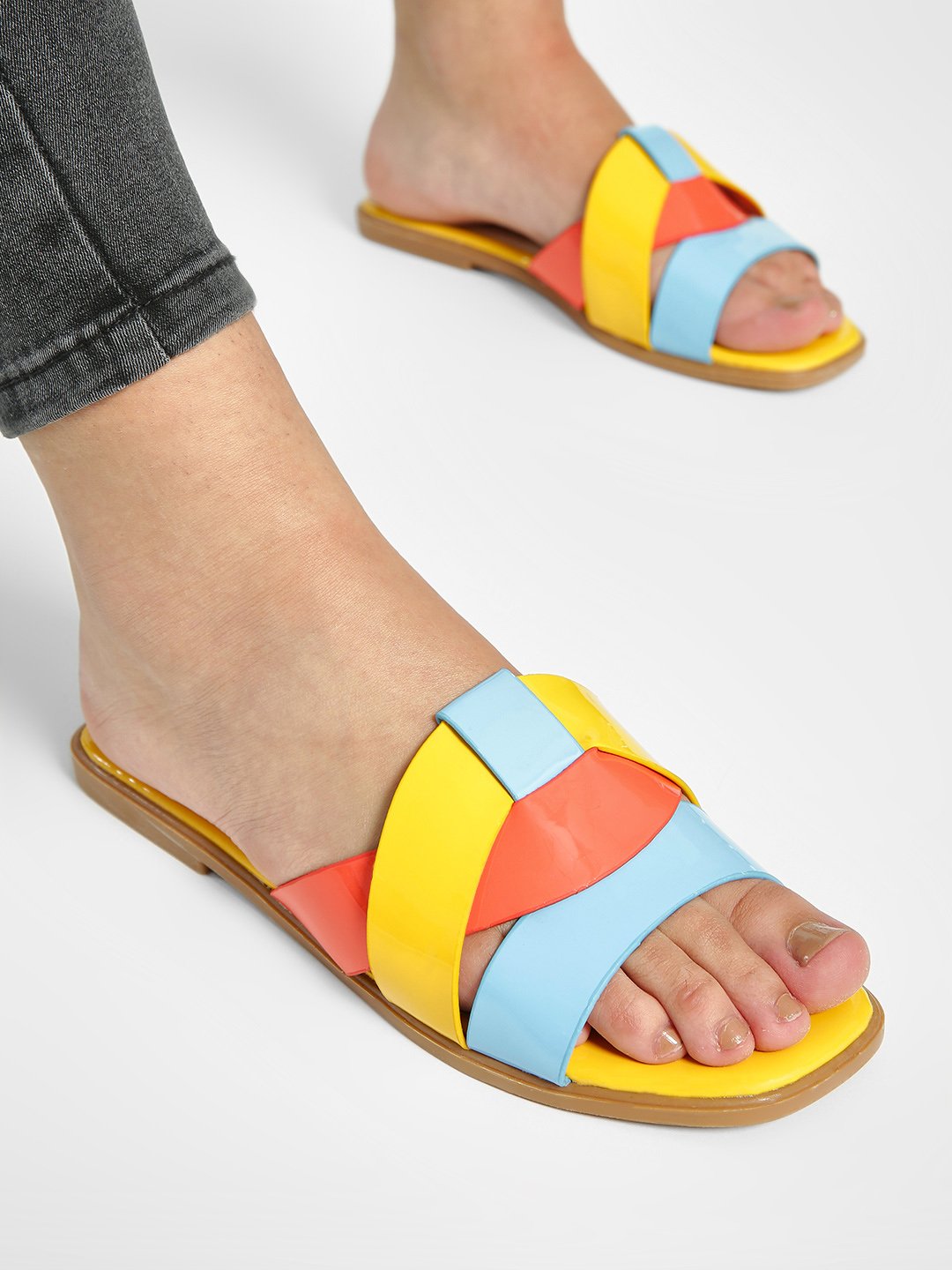 My Foot Couture Yellow Patent Multi-Strap Flat Sandals 1