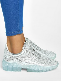 Sole Story Metallic Diamante Embellished Trainers
