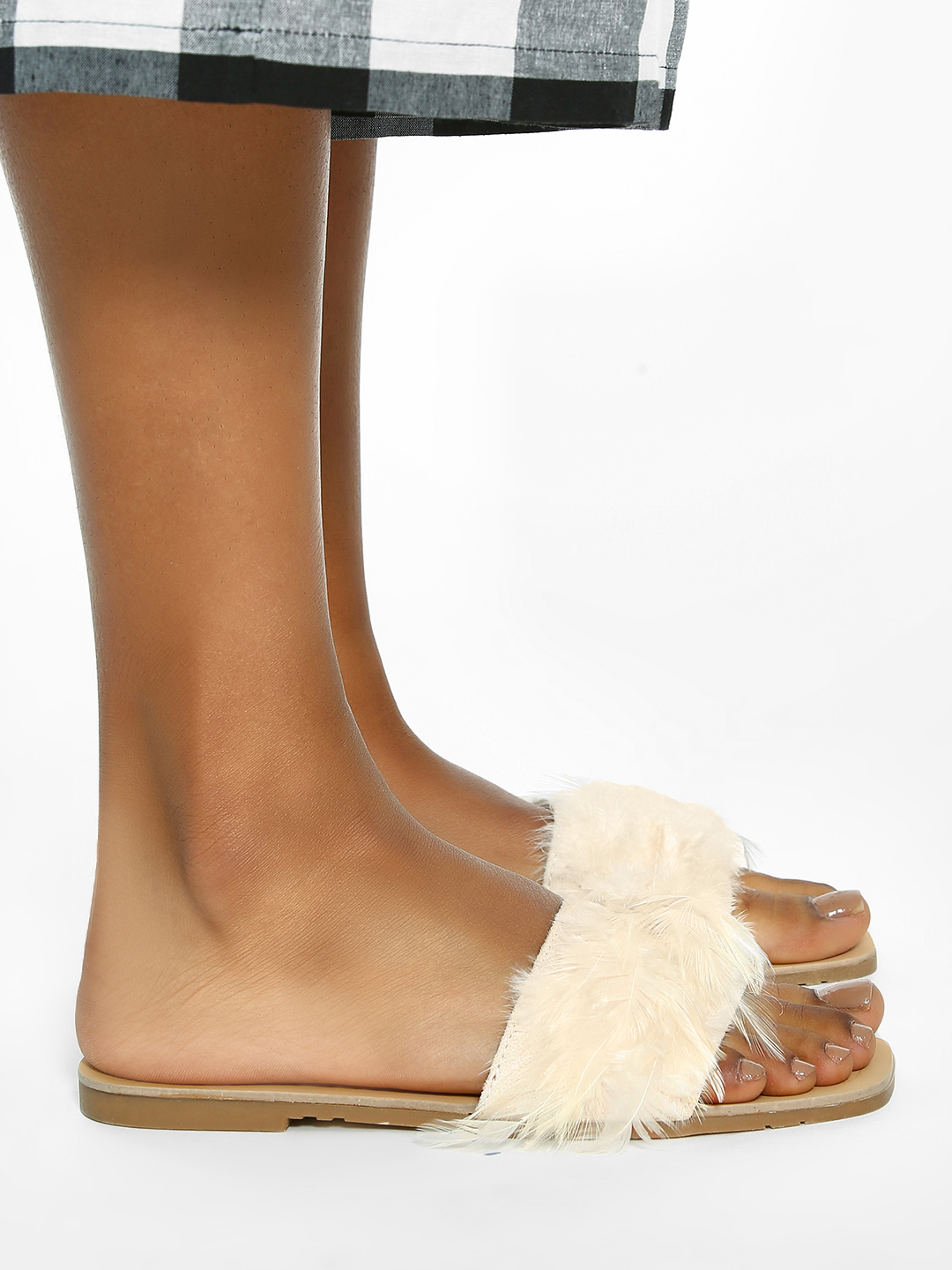 Sole Story Beige Feather Strap Flat Sandals 1